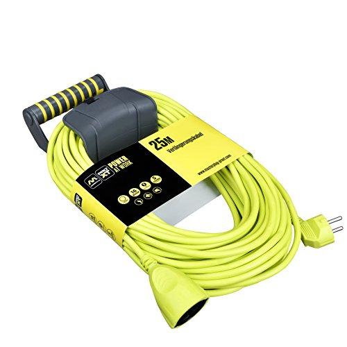 Masterplug EXG25161/CHT-PX Schutzkontakt-Verlängerungskabel mit Wandhalterung, 3680 W, 250 V, Grün, 25 m