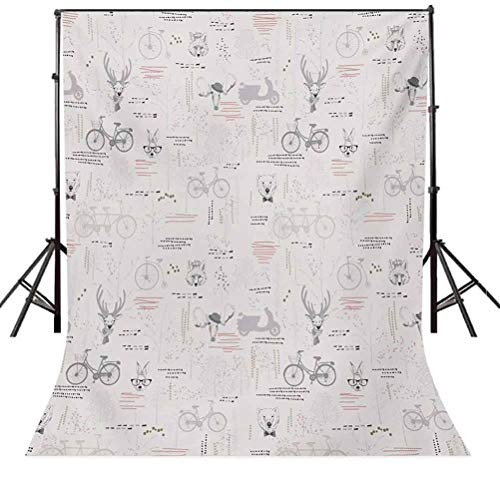 Indie 6.5x10 FT Photography Backdrop, Minimalist Pattern with Trees Foliage Deer Rabbit Fox Bear Figures Background for Party Home Decor Outdoorsy Theme Vinyl Shoot Props Pale Grey Vermilion Fuchsia