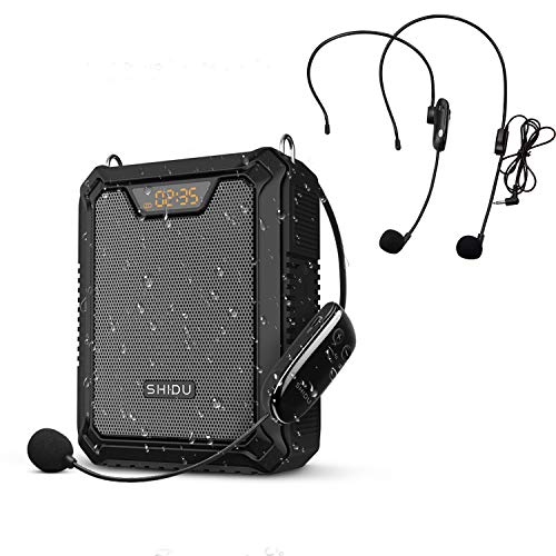 SHIDU Amplificador de voz 30W Altavoz Bluetooth con micrófono inalámbrico UHF y auriculares con micrófono con cable IPX6 Sistema de PA a prueba de agua Banco de energía para profesores, exterior