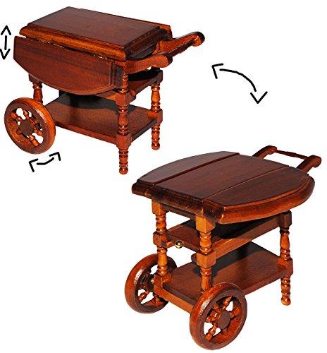 alles-meine.de GmbH Teewagen / Servierwagen - klappbar - aus Holz - für Puppenstube Miniatur / Maßstab 1:12 - Puppenhaus Puppenhausmöbel - Beistelltisch Wohnzimmer Möbel - Eßzimm..