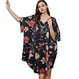 CMYA Pijama de Seda 100% de Verano para Mujer, camisón de Seda Fino Estampado de Gusano de Seda, Ropa de hogar Que se Puede Usar en el Exterior