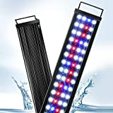 AQQA Aquarium Lights,Fish Tank LED Light with Extendable Brackets,Waterproof Full Spectrum Blue Red White LEDs with External Timer Controller for Freshwater Planted 11W(12'-18')