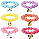 PinkSheep Unicorn Beads Bracelet for Kid Girl, 6PC, Rainbow Bracelet Monster Sun Flower Heart Meteor Pendant Bracelet, Charm Bracelet Friendship Bracelet Good Friend Gift