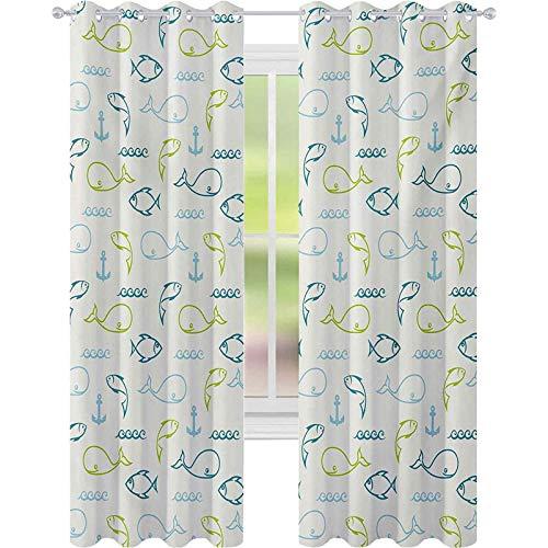 Cortina opaca para ventana, diseño de peces en una fila con dibujo de ondas, 52 x 84 de ancho para cuarto de guardería, azul cielo, verde pálido y blanco