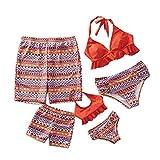 IFFEI Family Matching Swimwear Two Pieces Bikini Set Halter Bathing Suit Mommy and Me Beach Wear Women: XL