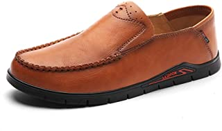 Ranipobo Men Formal Shoes Slip On Style Microfiber Leather Classic Solid Color Round Toe for Men (Color : Brown, Size : 6 UK)