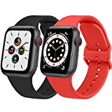 Lshy Cinturino per Apple Watch Cinturino 38mm 40mm 42mm 44mm, 2 Pezzi Morbido Cinturini per Apple Watch SE iwatch Series 6 5 4 3 2 1 (Nero+rosso)