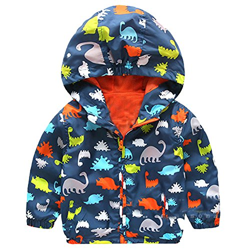 M&A Chubasquero Infantil Niño Otoño Primavera Sudadera Prensa Dinosaurio Impermeable Gabardina Coat Cool Boy Deporte Rompeviento Capucha Azul marino 3-4 años (TALLA FABRICANTE:110CM)
