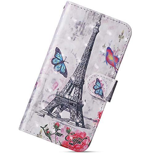 Urhause Custodia Compatibile con Samsung Galaxy A70 Cover KunyFond 3D Pittura Portafoglio Pelle Flip PU Leather Wallet Slot per Schede Antiurto Modello Magnetica Supporto Bumper,Torre di Parigi