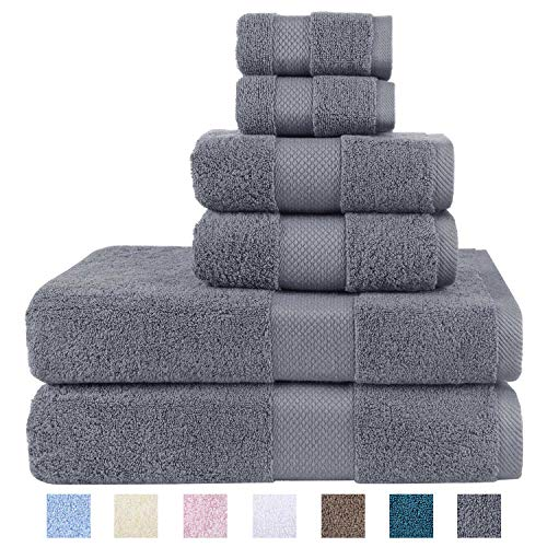 Wonwo 100% Cotton Towel Sets 600 GSM Luxury Bath Towels 6 Piece Set  2 Bath Towels 2 Hand Towels and 2 Washcloths  Gray