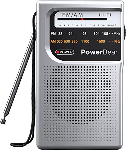 PowerBear Radio portátil   AM/FM, funciona con pilas, largo alcance (plata)