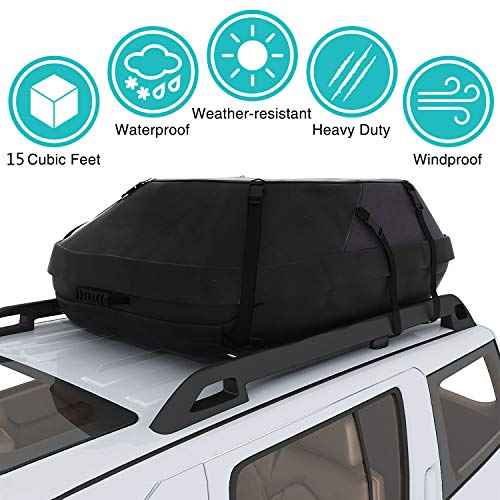 Moroly 15 Cubic Car Top Carrier Waterproof Rooftop Cargo Carrier Bag Includes Heavy Duty Straps for Vehicle Car Truck SUV Vans,Travel Cargo Bag Box Storage Luggage(41 x 35 x 17inch/105x90x45cm)