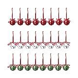 24pcs Weihnachtsglocke, Weihnachten Jingle Bells Anhänger, Xmas DIY Handwerk Glocken mit Seil,...