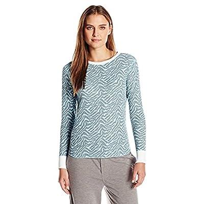 Hanes Plus Size Women's X-Temp Thermal Crew, Blue/grey Zebra, Medium