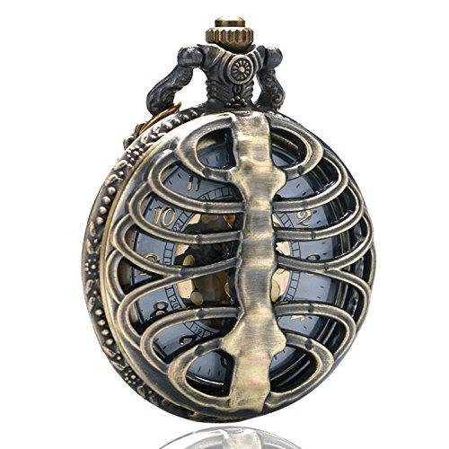 TOOGOO Reloj de Bolsillo de Cuarzo Hueco Espina Cráneo Retro Cadena Reloj Pendiente Collar Regalo de Mujer Hombre