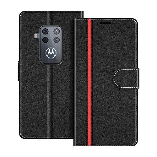 COODIO Handyhülle für Motorola One Zoom Handy Hülle, Motorola One Zoom Hülle Leder Handytasche für Motorola One Zoom Klapphülle Tasche, Schwarz/Rot