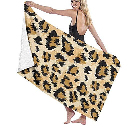 Lfff Leopardo de Moda Soft Absorbente Ligero para baño Piscina Yoga Pilates Manta de Picnic Toallas de Microfibra 80cm * 130cm
