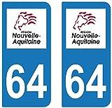 supstick 2 STICKERS AUTOCOLLANT PLAQUE IMMATRICULATION DEPT 64 Nouvelle-Aquitaine