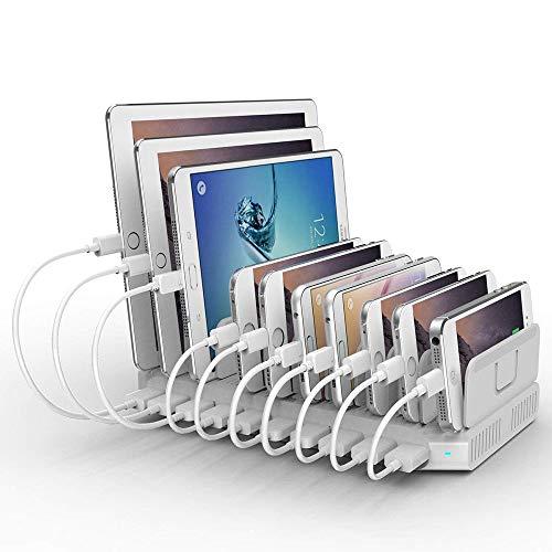 Alxum Estación de Carga USB para Dispositivos múltiples, 10 Puertos 96W 2.4A Organizador de estación de Carga rápida con divisores Desmontables para teléfono Moblie, Tableta, Blanco