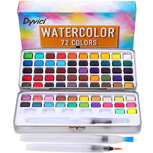 Dyvicl Watercolor Paint Set - 72 Assorted Colors with 3 Water Brushes, Travel Pocket Watercolor Kit for Adults Students Beginners Artists Watercolor Field Sketch Outdoor Painting