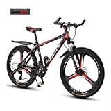 KaiKai 27 velocità Mountain Bike, Bici da Corsa, Doppio Freno a Disco Portatile Città Biciclette for Uomo Donna Esercizio aerobico, Training di Resistenza (Color : Black And Red)