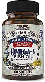 Wild Caught Fish Oil Omega 3 Premium Balanced Ratio DHA EPA Supplements Triple Strength 2500mg with Lemon, Burpless Pills,...