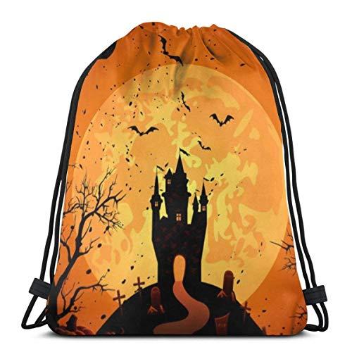 LREFON Bolsas de cuerdas para el gimnasio Halloween House Bat Adolescente hombres y mujeres Mochilas Casual Unisex Escuela Bolsa de Cuerda Bolsas de Gimnasia 36*42cm