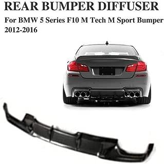 JC SPORTLINE fits BMW 5 Series F10 528i 530i 535i 550i M-Sport Bumper 2011-2017 Rear Diffuser Bumper Lip Spoiler (Black)