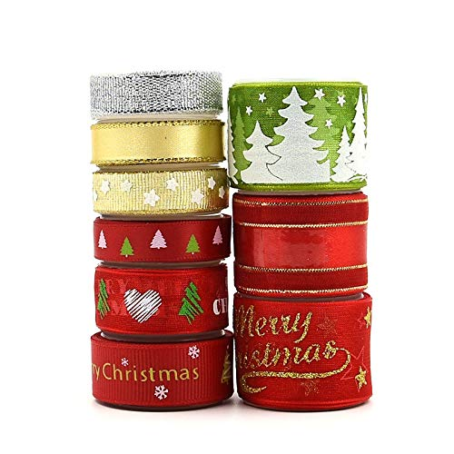 Xmas Ribbon,Colorful Christmas Theme Ribbon Off Cut Bundle 9 Style 18 Yards for Gifts Wrapping Festival Decorations DIY Crafts 1cm 1.5cm 2.5cm in Width