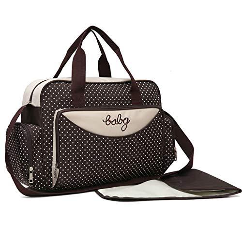 PINGDI - Juego de 5 bolsas de pañales para bebé, gran capacidad, diseño de lunares, maternidad, para viaje, bolsa de mano, portabotellas