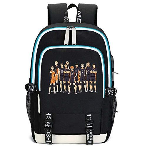 EU_LevinArt Anime Haikyuu Karasuno Backpack Laptop Backpack USB Charging Backbag Travel Daypacks School Bookbag Backpack (1)