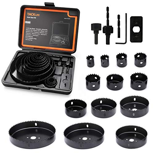 Tacklife-Hole Saw Kit, 17 Pieces 3/4''-5'' Full Set in Case with Mandrels, Hex Key and Install Plate for Wood, PVC Board,Drywall and Plastic Plate Drilling, Hardened High Carbon Steel -PHS03C