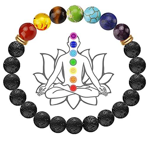 Pulsera Chakra Natural, 7 Chakras Pulsera Mujer Elástica de Piedras Preciosas Naturales Pulsera Hombre Curación de Cristal de Yoga Natural Real Cumpleaños Navidad Mujer Hombre 8mm