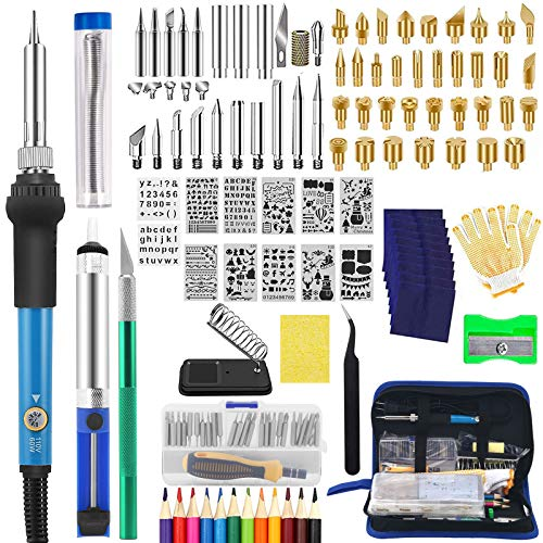 141pcs Wood Burning Kit for Adult, Adjustable Professional Wood Burner Soldering Pen Tool Pyrography Kit Woodburning Tool Set Accessories for DIY Embossing Carving Soldering