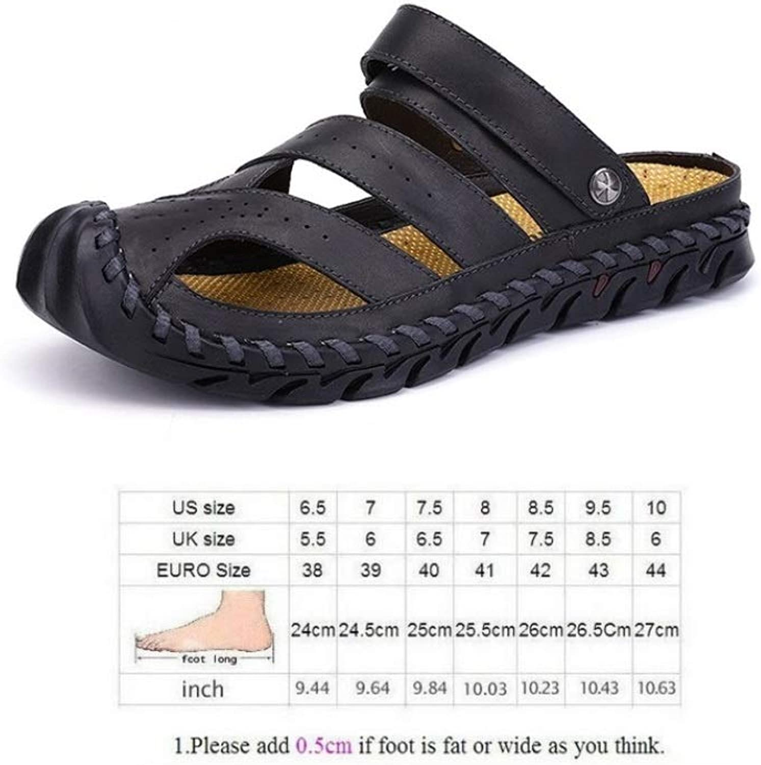 WJP Men's Sandals - Summer Durable Leather Sandals, Baotou Anti-Collision Toe, Casual Beach Slippers, Two Ways of Wearing B   41