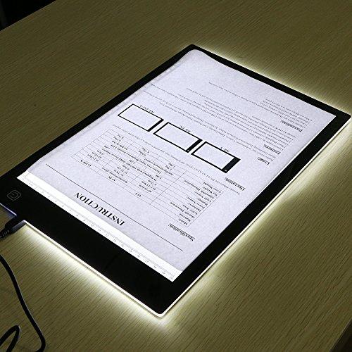 Tables Lumineuses, LED Light Pad, Animation Tracer Light Box Drawing Copier Desk Protection des Yeux Design A4 Touch Lightness réglable Smart pour Artiste Professional Carton (Professional)
