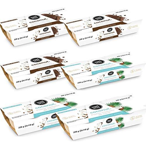 3 BiPacks de Postres Vegetales Coco Natural + 3 BiPacks de Postres Vegetales Coco Chocolate. Postre vegetal. Alternativas a los lácteos. Aptos Intolerancia Lactosa. 6 x 220g (12 x 110g)