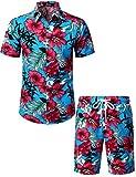 JOGAL Men's Flower Casual Button Down Short Sleeve Hawaiian Shirt Suits (Sky Blue, XXX-Large)