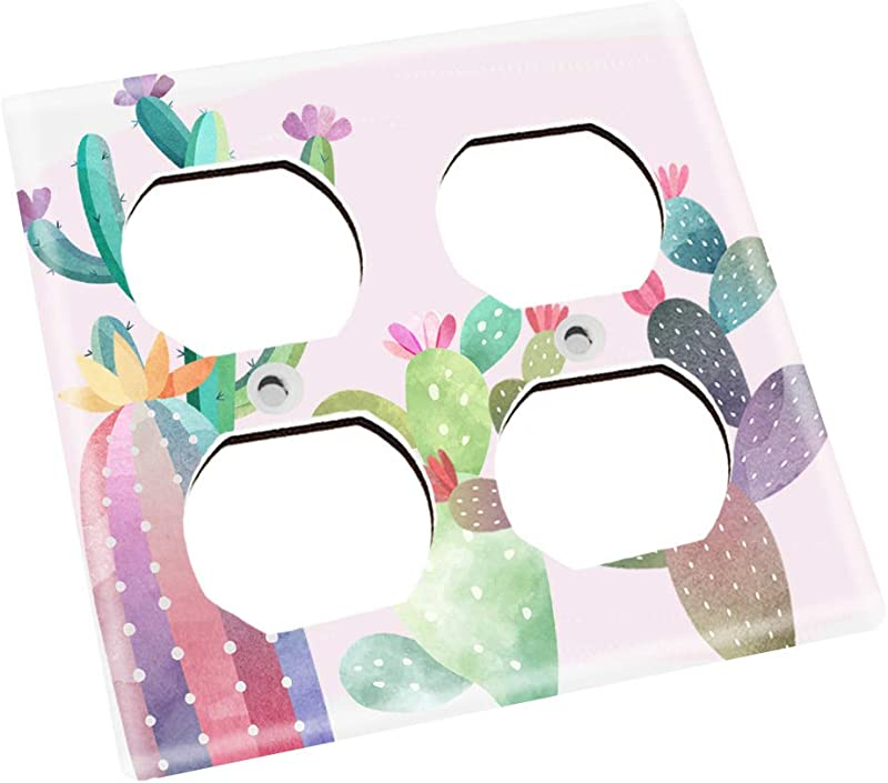 Colourful Cacti Nursery Bedroom Single Light Switch Cover LS0115 Double Outlet