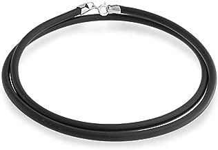 Bling Jewelry Collar cordón de Caucho Negro con Hebilla de Plata esterlina 925