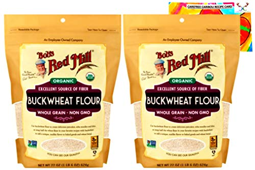 Bobs Red Mill Organic Buckwheat Flour Bundle. Includes Two (2) 22oz Packages of Bobs Red Mill Organic Buckwheat Flour and a Buckwheat Flour Recipe Card from Carefree Caribou!