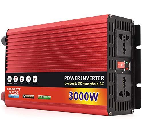 WOCTP Avertisseur d'ondes sinusoïdales modifiées 2000/4000W Pics, onduleur Solaire de Voiture DC 12 / 24V sur AC 110V / 220V 2AC 1 Prises universelles USB 1.5A Portes 4000W/48V