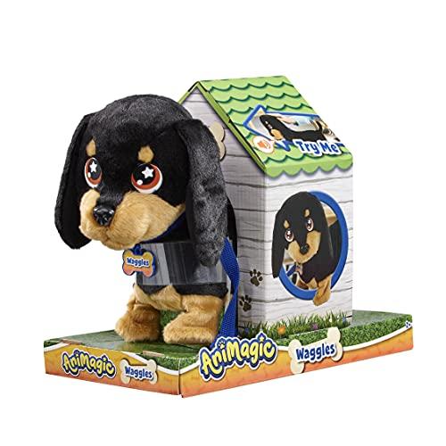 Animagic- Waggles, mi Perrito Salchicha Mascota Que ladra y anda, Color Negro - marrón, Talla...
