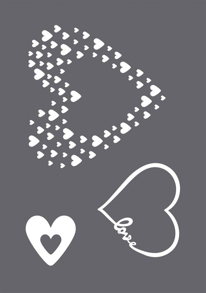 Rayher Screen-Printing Stencil Love A5, colourless