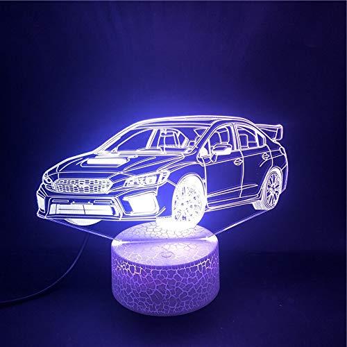 Regalo de Navidad de Año Nuevo Modelo de bombilla de luz 3D Remolque de coche Reloj despertador Base Hermosa USB LED Luz de noche Ilusión Iluminación de habitación Regalo