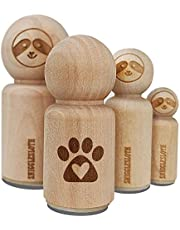 Paw Print with Heart Dog Rubber Stamp for Stamping Crafting Planners