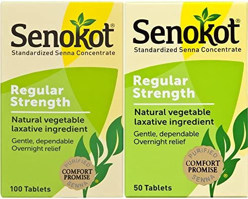 Senokot Regular Strength 50ct Tablets Natural Vegetable Laxative Ingredient