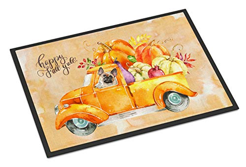Caroline's Treasures CK2666MAT Fall Harvest Fawn French Bulldog Indoor or Outdoor Mat 18x27, 18H X 27W, Multicolor