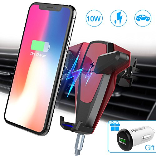 Wireless Car Charger, Foluu 10W Fast Wireless Charging Car Mount Phone Holder Car Wireless Charger Compatible with Samsung Galaxy S9/S9+/S8/S8+/S7/S7 Edge/S6 iPhone X/8/8+/Qi Enabled Devices Red