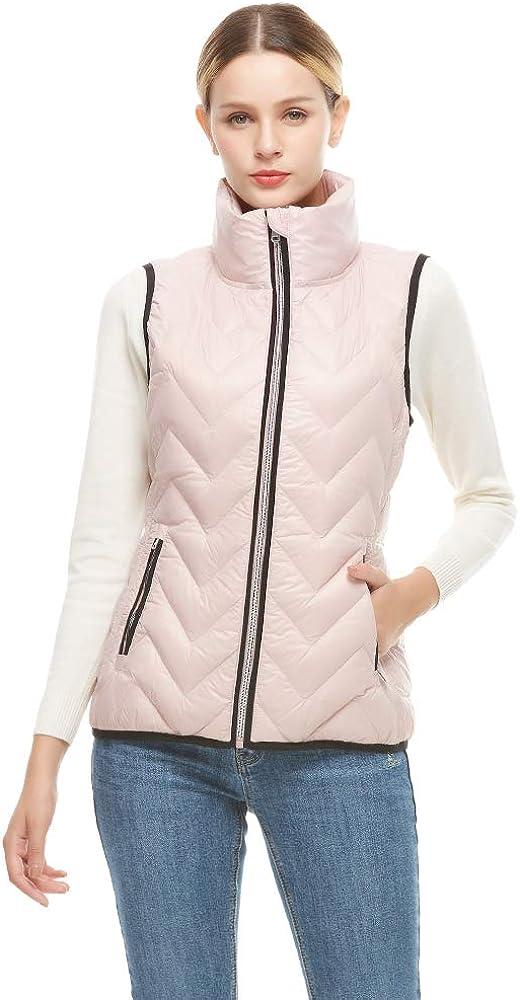 Universo お気に入り Women's Packable Lightweight Down Collar Stand 即日出荷 Vest Zip